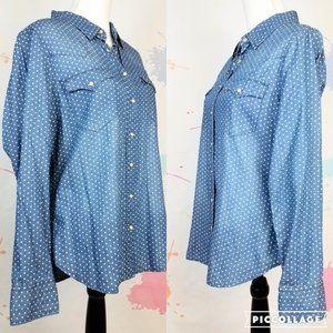 LEVIS Polka Dot Pearl Snap Shirt - Women's Size XL